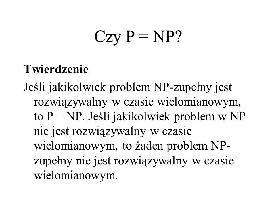 Czy P = NP? Twierdzenie Jeśli jakikolwiek problem NP-zupełny jest rozwiązywalny w czasie wielomianowym, to P = NP. Jeśli jakikolwiek problem w NP nie