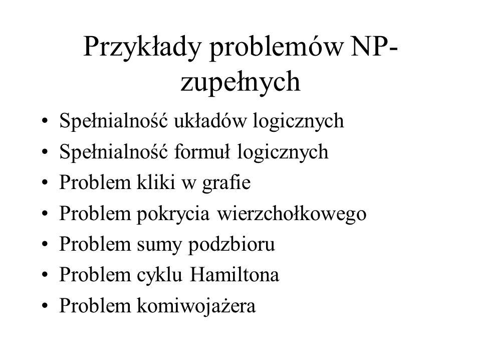 Przykłady problemów NP- zupełnych Spełnialność układów logicznych Spełnialność formuł logicznych Problem kliki w grafie Problem pokrycia wierzchołkowe