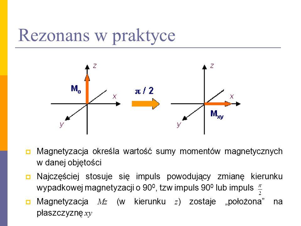 Relaksacja  Po zadziałaniu zaburzenia układ będzie dążył do stanu równowagi relaksacja T 1 i T 2  Relaksacja T 1 – spin – sieć (odrost Mz ) – jądra w sieci są w ruchu wibracyjnym i rotacyjnym, niektóre składowe mogą drgać z częstością Larmora, następuję przekazanie energii i powrót do stanu początkowego  Relaksacja T 2 – spin – spin (zanik Mx i My ), spowodowana najczęściej przez lokalne zmiany pola w samej tkance lub przez fluktuacje zewnętrznego pola  Procesy relaksacyjne opisywane są przez równania Blocha T 1 i T 2 są różne dla poszczególnych tkanek i mają wpływ na sygnał NMR