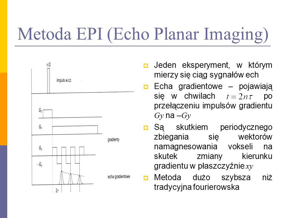 Metoda EPI (Echo Planar Imaging)  Jeden eksperyment, w którym mierzy się ciąg sygnałów ech  Echa gradientowe – pojawiają się w chwilach po przełącze