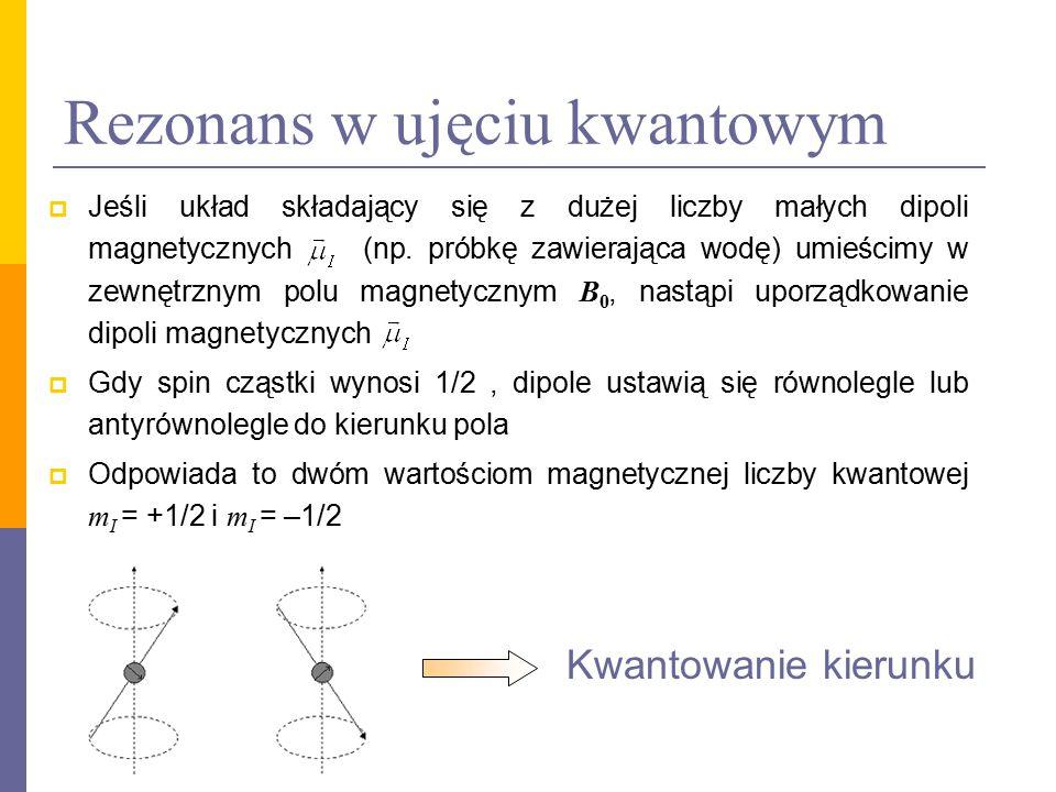 Rezonans w ujęciu kwantowym  Energia E m dowolnego dipola magnetycznego umieszczonego w zewnętrznym polu magnetycznym wynosi:  Dla cząstek o spinie 1/2 pojawią się pod działaniem pola dwa poziomy energetyczne E 1 i E 2