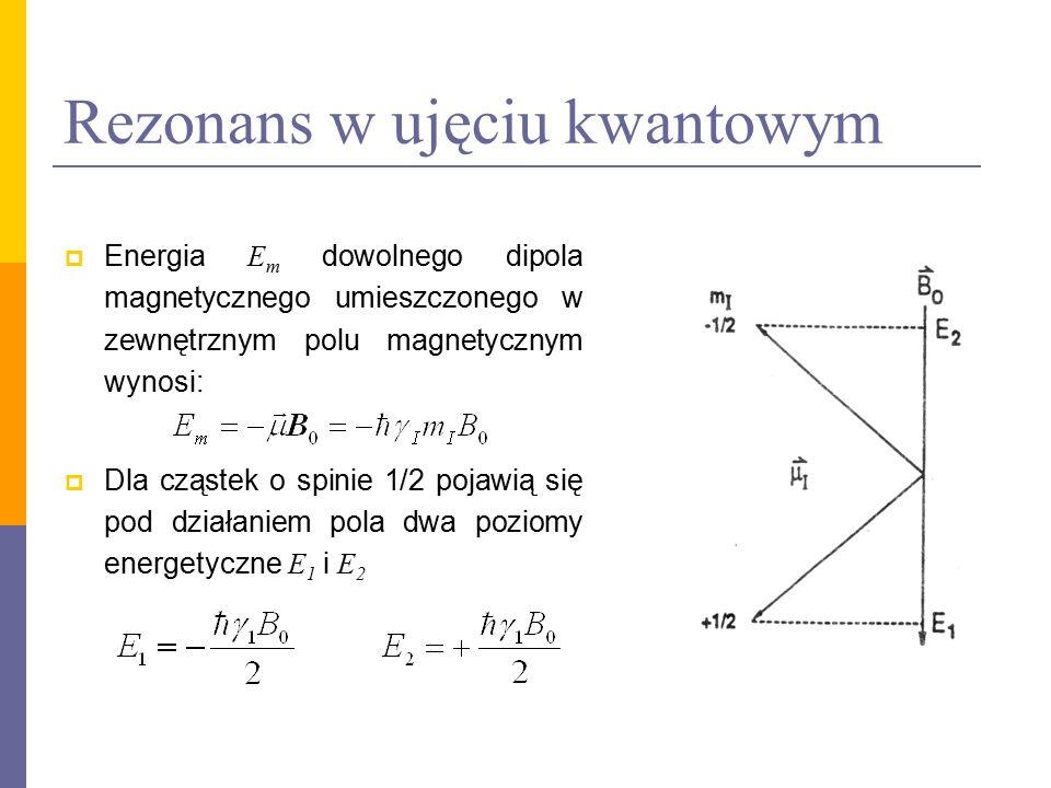 Rezonans w ujęciu kwantowym  Energia E m dowolnego dipola magnetycznego umieszczonego w zewnętrznym polu magnetycznym wynosi:  Dla cząstek o spinie