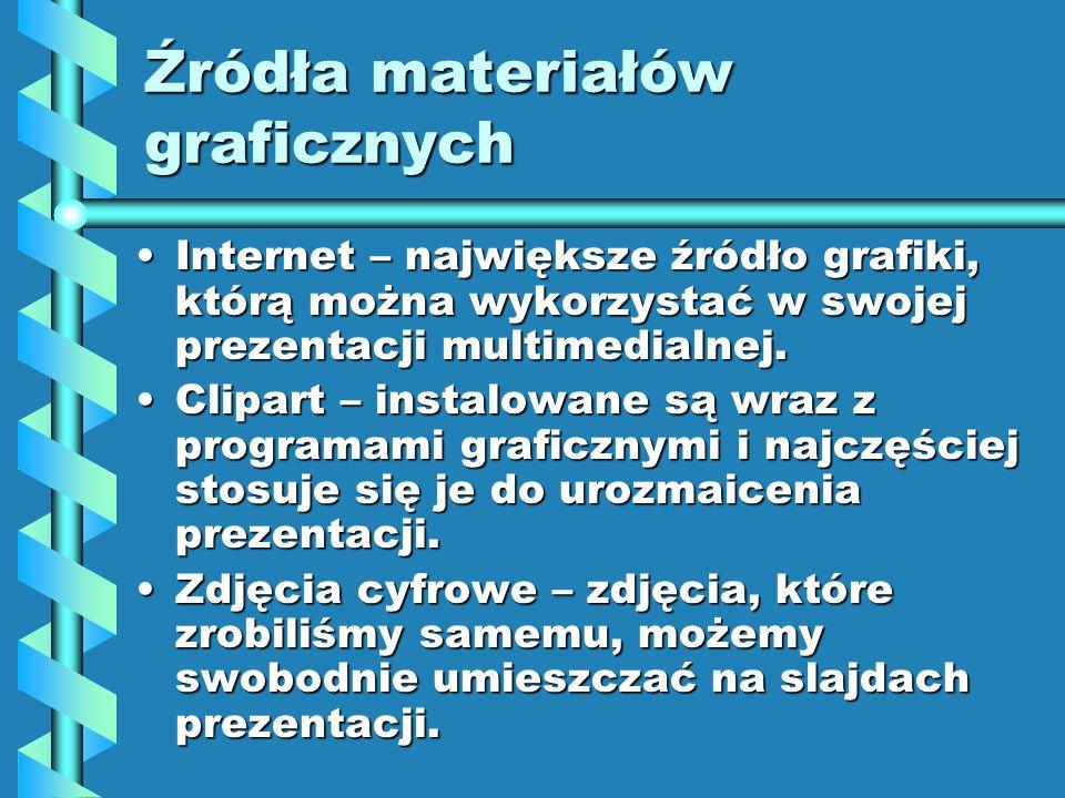 Internet – największe źródło grafiki, którą można wykorzystać w swojej prezentacji multimedialnej.Internet – największe źródło grafiki, którą można wykorzystać w swojej prezentacji multimedialnej.