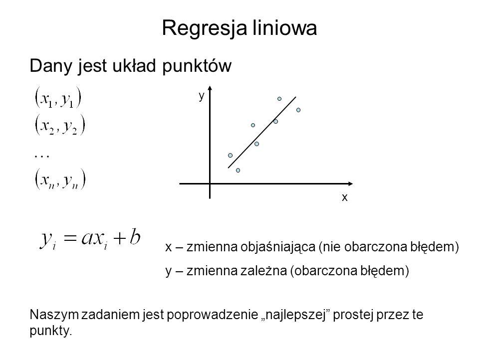 Regresja liniowa Dany jest układ punktów x y x – zmienna objaśniająca (nie obarczona błędem) y – zmienna zależna (obarczona błędem) Naszym zadaniem je