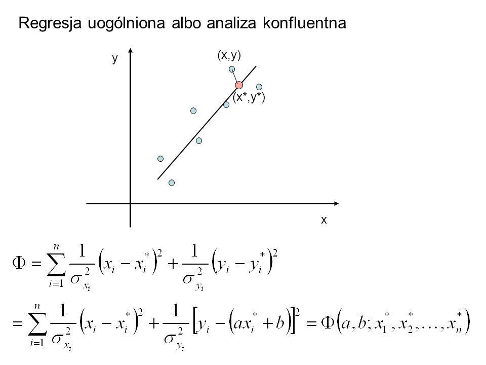 Regresja uogólniona albo analiza konfluentna x y (x,y) (x*,y*)