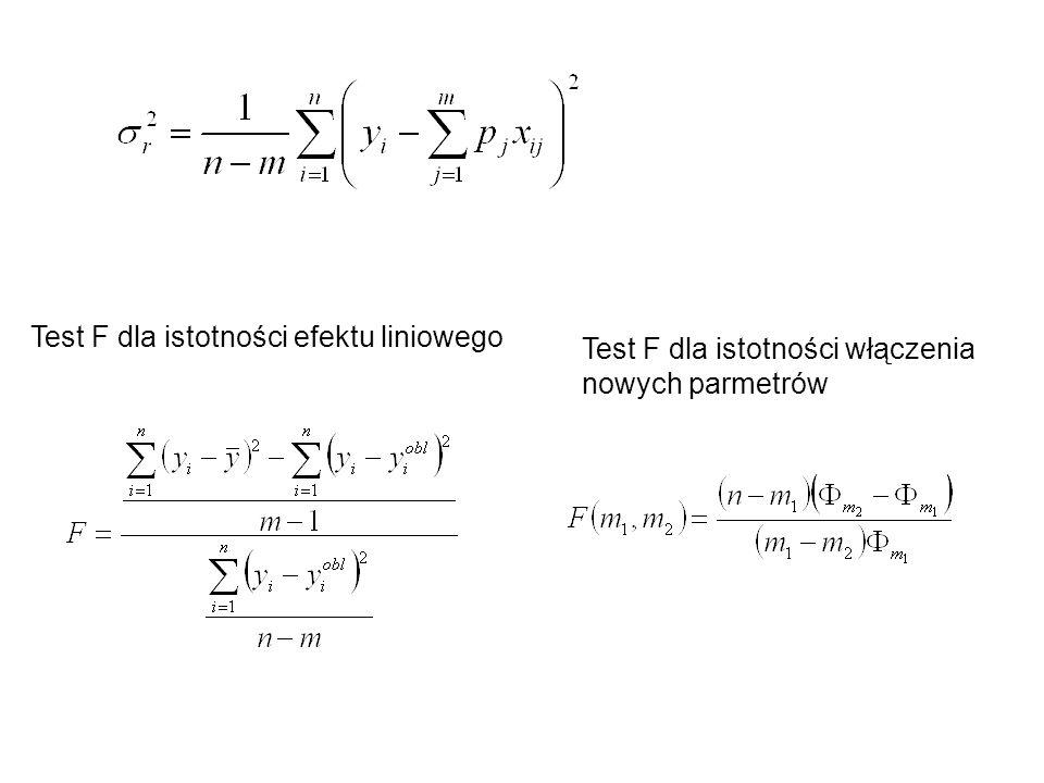 Test F dla istotności efektu liniowego Test F dla istotności włączenia nowych parmetrów