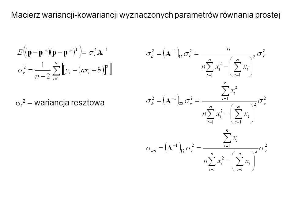 x y Ocena wyników regresji: -Test dobroci dopasowania (  2 ) -Test istotności efektu liniowego (współczynnik korelacji)