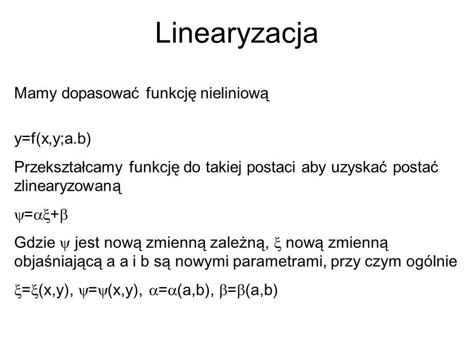 Linearyzacja Mamy dopasować funkcję nieliniową y=f(x,y;a.b) Przekształcamy funkcję do takiej postaci aby uzyskać postać zlinearyzowaną  =  +  Gdzi