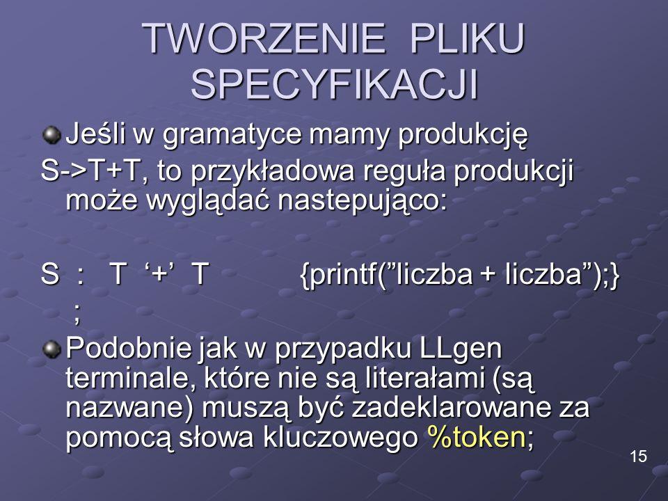 TWORZENIE PLIKU SPECYFIKACJI Jeśli w gramatyce mamy produkcję S->T+T, to przykładowa reguła produkcji może wyglądać nastepująco: S : T '+' T {printf( liczba + liczba );} ; Podobnie jak w przypadku LLgen terminale, które nie są literałami (są nazwane) muszą być zadeklarowane za pomocą słowa kluczowego %token; 15