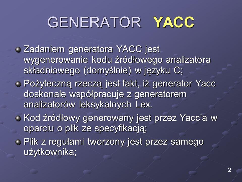 GENERATOR YACC Zadaniem generatora YACC jest wygenerowanie kodu źródłowego analizatora składniowego (domyślnie) w języku C; Pożyteczną rzeczą jest fakt, iż generator Yacc doskonale współpracuje z generatorem analizatorów leksykalnych Lex.