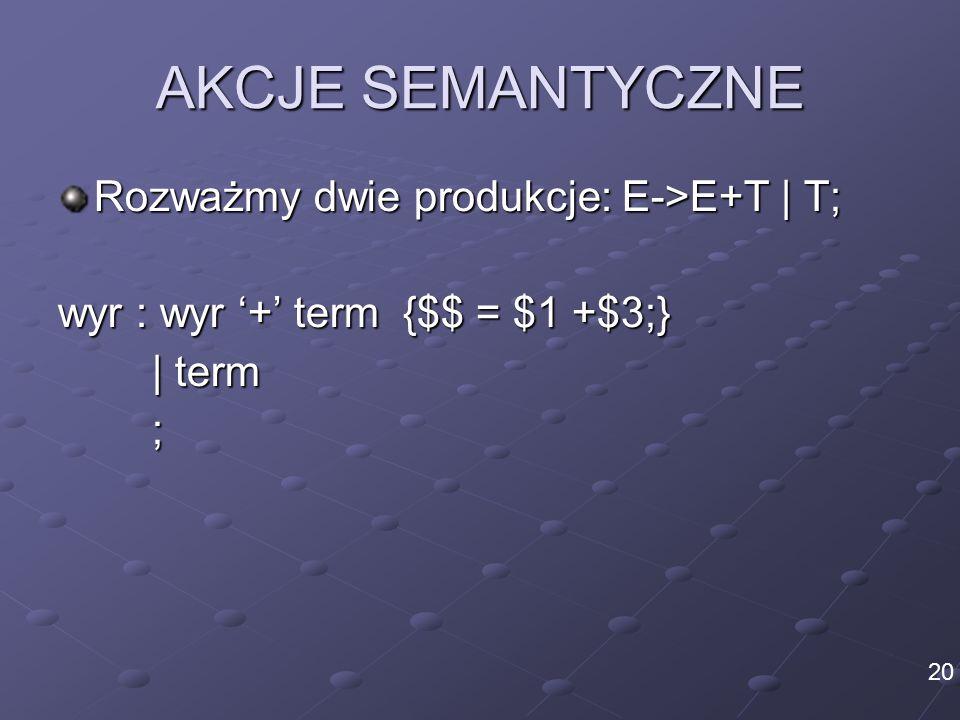 AKCJE SEMANTYCZNE Rozważmy dwie produkcje: E->E+T | T; wyr : wyr '+' term {$$ = $1 +$3;} | term ; 20
