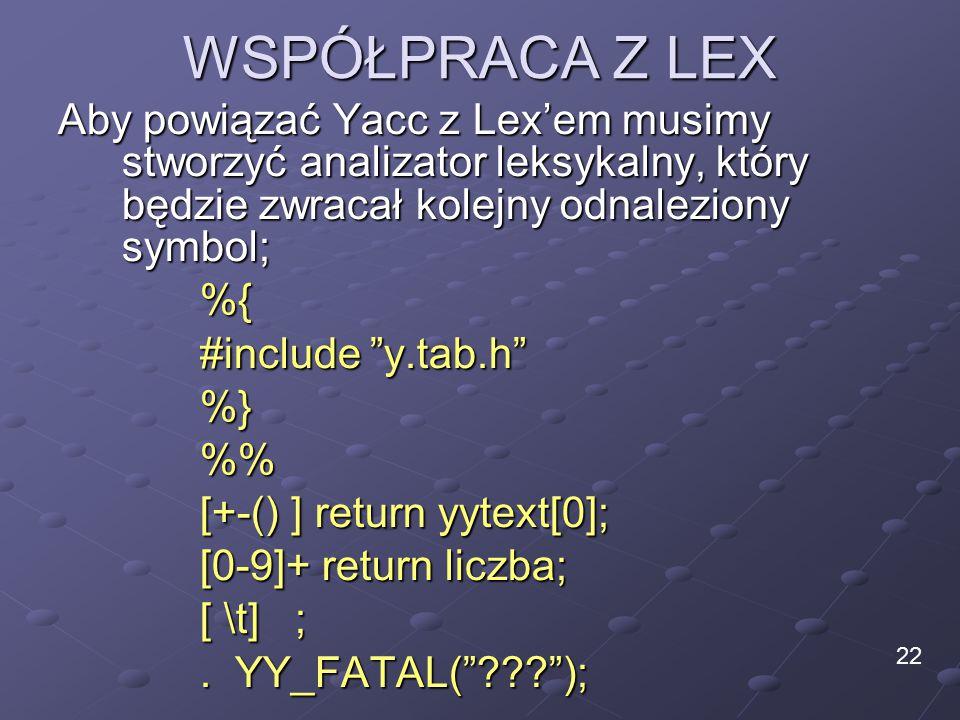 WSPÓŁPRACA Z LEX Aby powiązać Yacc z Lex'em musimy stworzyć analizator leksykalny, który będzie zwracał kolejny odnaleziony symbol; %{ #include y.tab.h %}% [+-() ] return yytext[0]; [0-9]+ return liczba; [ \t] ;.