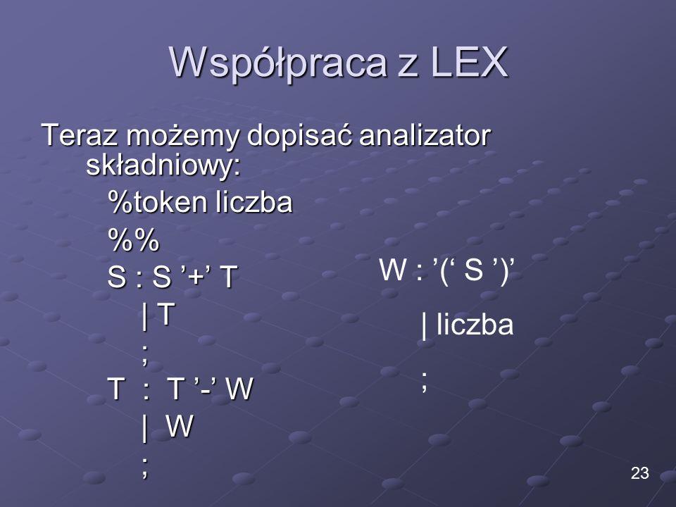 Współpraca z LEX Teraz możemy dopisać analizator składniowy: %token liczba % S : S '+' T | T ; T : T '-' W | W ; 23 W : '(' S ')' | liczba ;