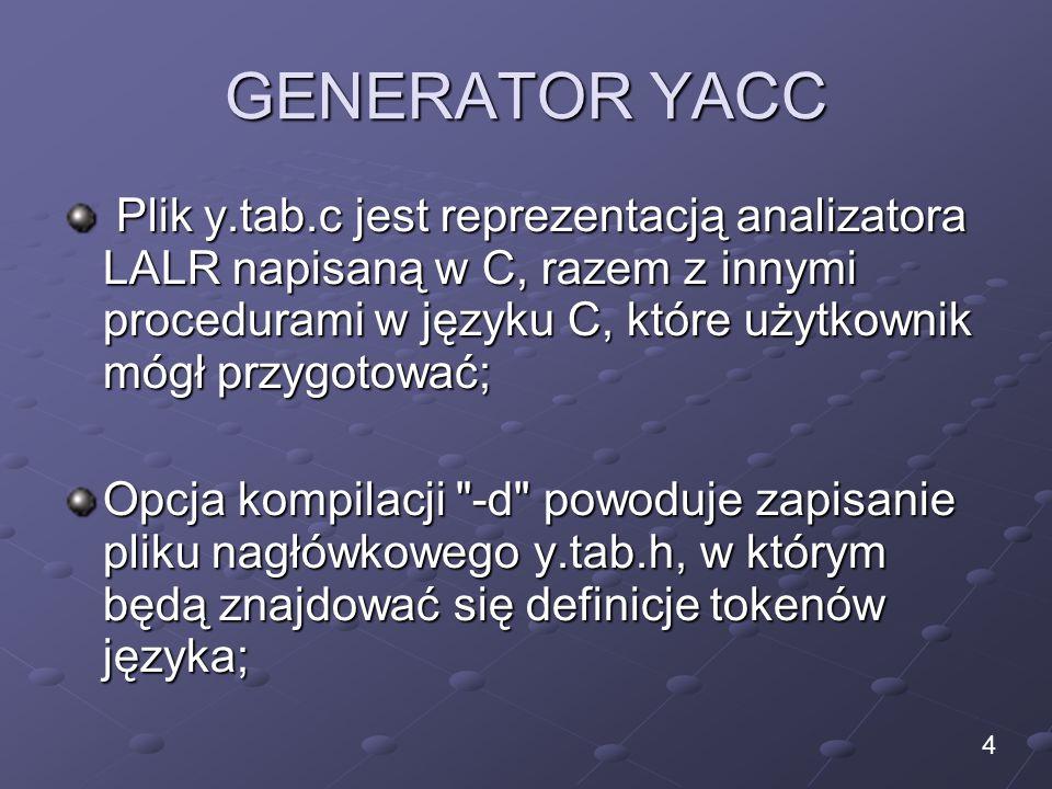 GENERATOR YACC Plik y.tab.c jest reprezentacją analizatora LALR napisaną w C, razem z innymi procedurami w języku C, które użytkownik mógł przygotować; Plik y.tab.c jest reprezentacją analizatora LALR napisaną w C, razem z innymi procedurami w języku C, które użytkownik mógł przygotować; Opcja kompilacji -d powoduje zapisanie pliku nagłówkowego y.tab.h, w którym będą znajdować się definicje tokenów języka; 4