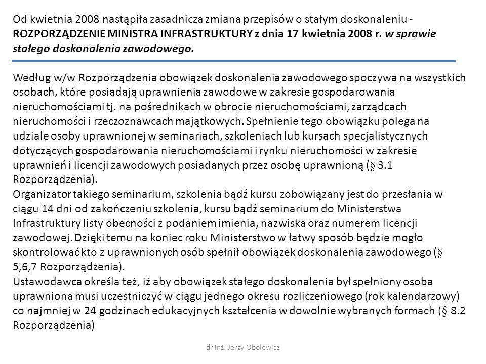 Od kwietnia 2008 nastąpiła zasadnicza zmiana przepisów o stałym doskonaleniu - ROZPORZĄDZENIE MINISTRA INFRASTRUKTURY z dnia 17 kwietnia 2008 r. w spr