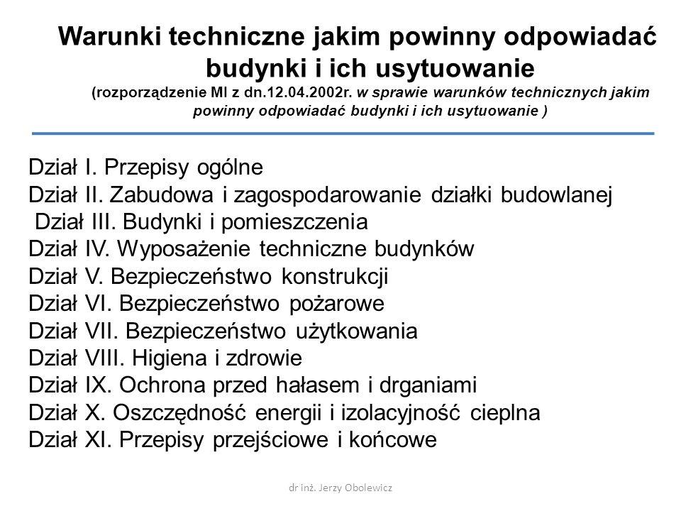 Warunki techniczne jakim powinny odpowiadać budynki i ich usytuowanie (rozporządzenie MI z dn.12.04.2002r. w sprawie warunków technicznych jakim powin