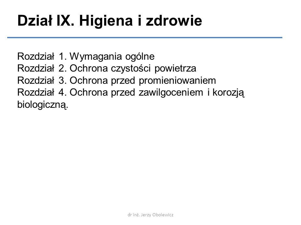 Dział IX. Higiena i zdrowie Rozdział 1. Wymagania ogólne Rozdział 2. Ochrona czystości powietrza Rozdział 3. Ochrona przed promieniowaniem Rozdział 4.