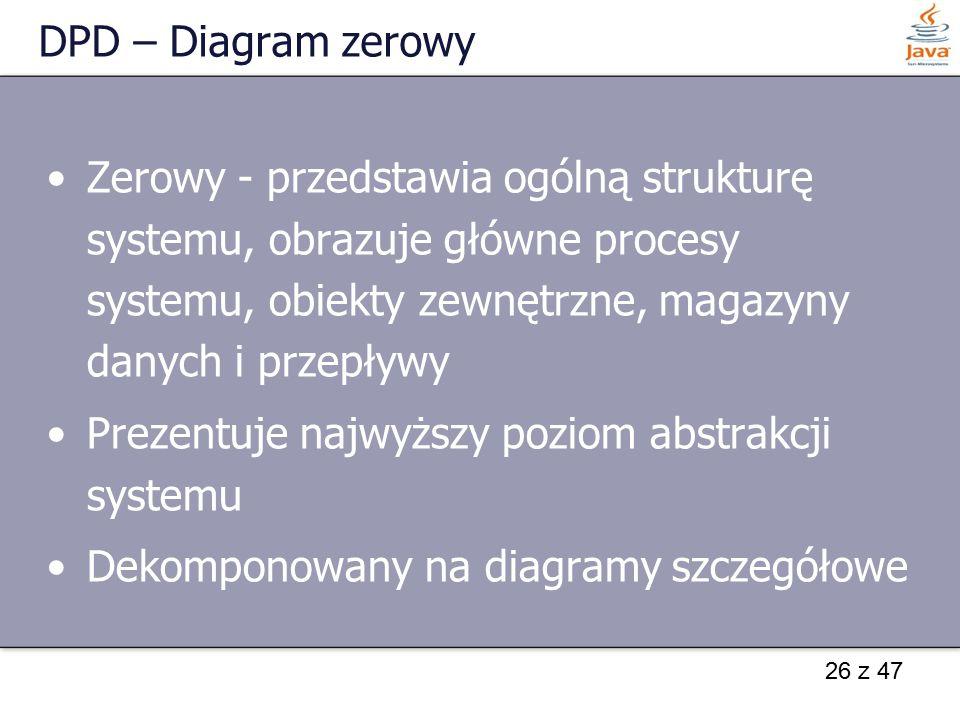 26 z 47 DPD – Diagram zerowy Zerowy - przedstawia ogólną strukturę systemu, obrazuje główne procesy systemu, obiekty zewnętrzne, magazyny danych i prz