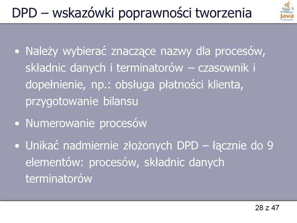 28 z 47 DPD – wskazówki poprawności tworzenia Należy wybierać znaczące nazwy dla procesów, składnic danych i terminatorów – czasownik i dopełnienie, n