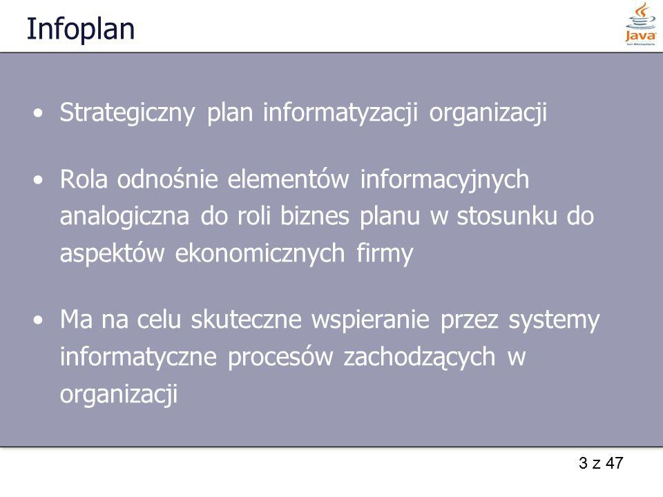 4 z 47 Infoplan – analizowane zagadnienia Wyrażenie potrzeb celów i strategii gospodarczej firmy w kategoriach wspomagających systemów informacyjnych Ocena aktualnie użytkowanego w firmie systemu informatycznego Sposobu włączenia nowych innowacyjnych rozwiązań informatycznych