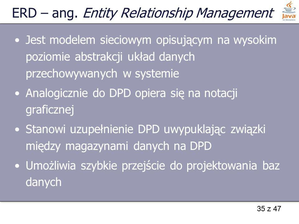 35 z 47 ERD – ang. Entity Relationship Management Jest modelem sieciowym opisującym na wysokim poziomie abstrakcji układ danych przechowywanych w syst