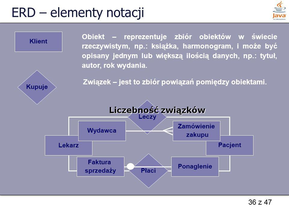 36 z 47 ERD – elementy notacji Klient Obiekt – reprezentuje zbiór obiektów w świecie rzeczywistym, np.: książka, harmonogram, i może być opisany jedny
