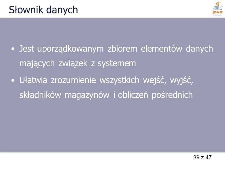 39 z 47 Słownik danych Jest uporządkowanym zbiorem elementów danych mających związek z systemem Ułatwia zrozumienie wszystkich wejść, wyjść, składnikó