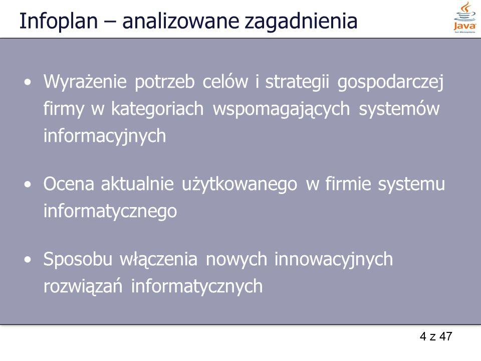 4 z 47 Infoplan – analizowane zagadnienia Wyrażenie potrzeb celów i strategii gospodarczej firmy w kategoriach wspomagających systemów informacyjnych