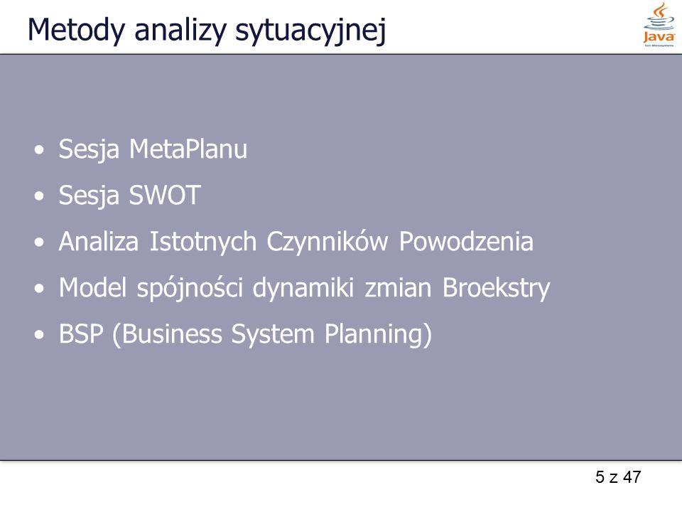 5 z 47 Metody analizy sytuacyjnej Sesja MetaPlanu Sesja SWOT Analiza Istotnych Czynników Powodzenia Model spójności dynamiki zmian Broekstry BSP (Busi