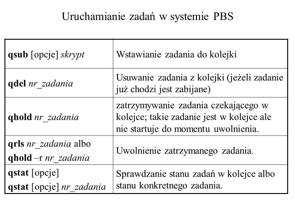 #PBS -N Mut58-Asp #PBS -q long #PBS -l nodes=2:amd2800 set NPROCS=`cat $PBS_NODEFILE | wc -l` cd $PBS_O_WORKDIR mpirun -machinefile $PBS_NODEFILE -np $NPROCS -nolocal \ /users/amber/a80/amber8/exe/sander.mpi -O \ -i md.in \ -o 3md5.o \ -e 3md5.e \ -c 2md5.r \ -p Mut58-Asp.top \ -r 3md5.r \ -x 3md5.x Przykład skryptu PBS: uruchamianie programu AMBER na klastrze piasek.chem.univ.gda.pl