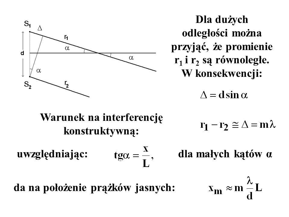Dla dużych odległości można przyjąć, że promienie r 1 i r 2 są równoległe. W konsekwencji: Warunek na interferencję konstruktywną: uwzględniając: da n