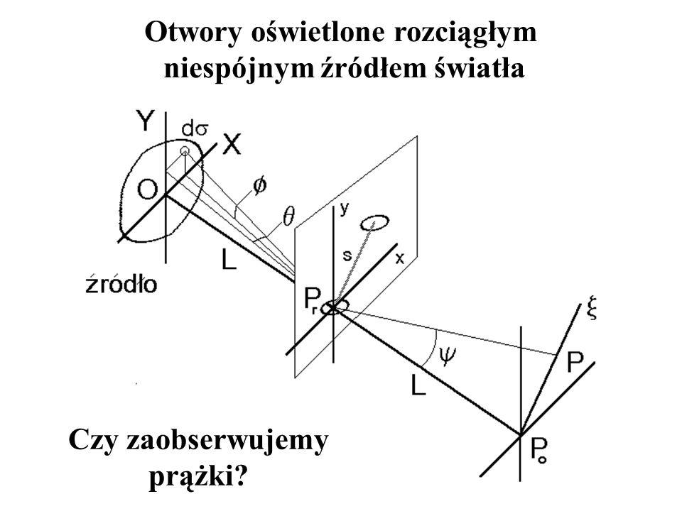 Fala przybywająca do punktu x przebywa drogę krótszą o: a więc różnica faz wyniesie: Trzeba uwzględnić y i różnicę faz dla fal przybywających do P