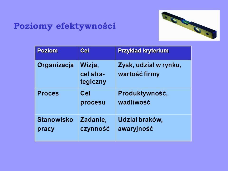Skuteczność vs efektywność Skuteczność Efektywność Proces skuteczny lecz nieefektywny Proces nieskuteczny i nieefektywny Proces nieskuteczny lecz efektywny Proces skuteczny I efektywny