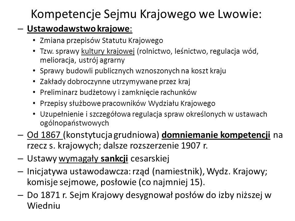 Kompetencje Sejmu Krajowego we Lwowie: – Ustawodawstwo krajowe: Zmiana przepisów Statutu Krajowego Tzw.
