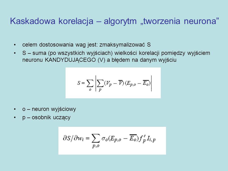 """Kaskadowa korelacja – algorytm """"tworzenia neurona"""" celem dostosowania wag jest: zmaksymalizować S S – suma (po wszystkich wyjściach) wielkości korelac"""