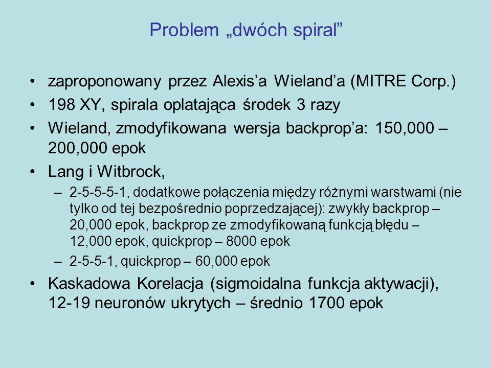 """Problem """"dwóch spiral"""" zaproponowany przez Alexis'a Wieland'a (MITRE Corp.) 198 XY, spirala oplatająca środek 3 razy Wieland, zmodyfikowana wersja bac"""