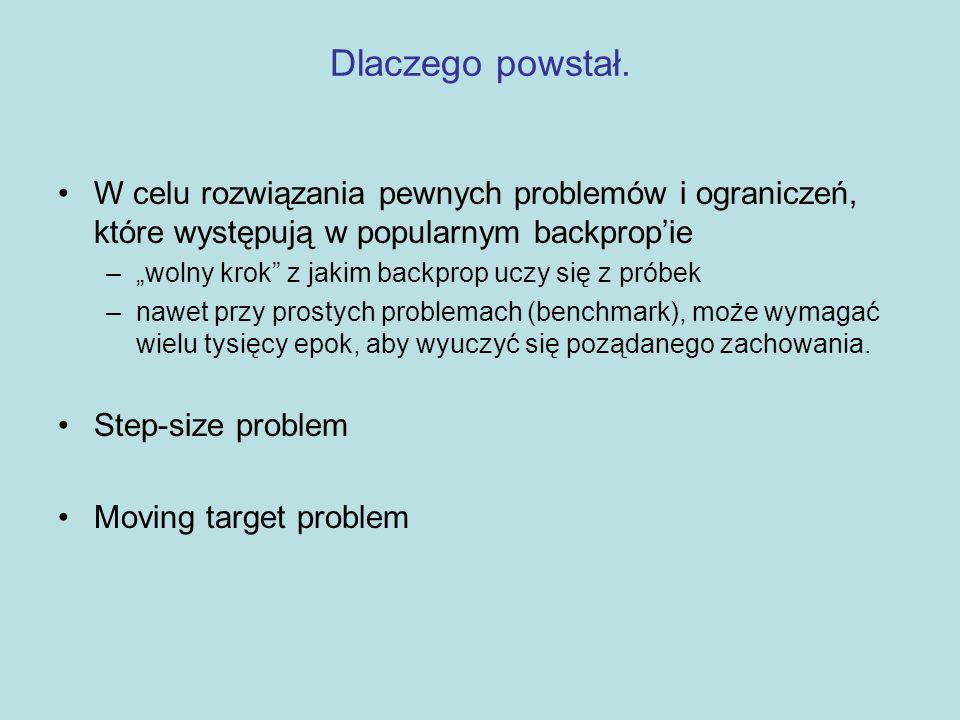 Problemy spowolniające backprop – STEP-SIZE Co to jest i dlaczego występuje: –Backprop oblicza dla każdej wagi, jedynie pierwszą częściową pochodną całej funkcji błędu –Mając te pochodne, możemy wykonywać zejście według gradientu w przestrzeni wag, zmniejszając błąd z każdym krokiem –Można łatwo dowieść, że biorąc maleńkie kroczki, w końcu dojdziemy do lokalnego minimum funkcji błędu