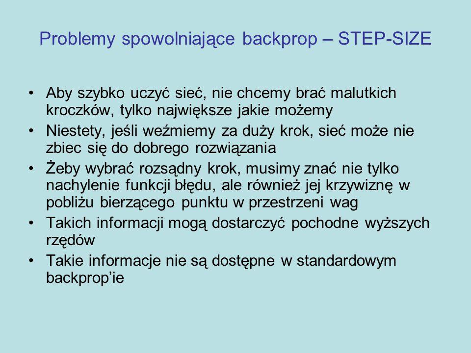 Problemy spowolniające backprop – STEP-SIZE Algorytm Fahlman'a, quickprop, jest jednym z proponowanych i odnoszących duże sukcesy sposobem w radzeniu sobie z problemem STEP-SIZE Jak działa quickprop: –oblicza pochodne jak backprop –zamiast prostego (gradient descent), korzysta z metody Newtona przy aktualizacji wag.