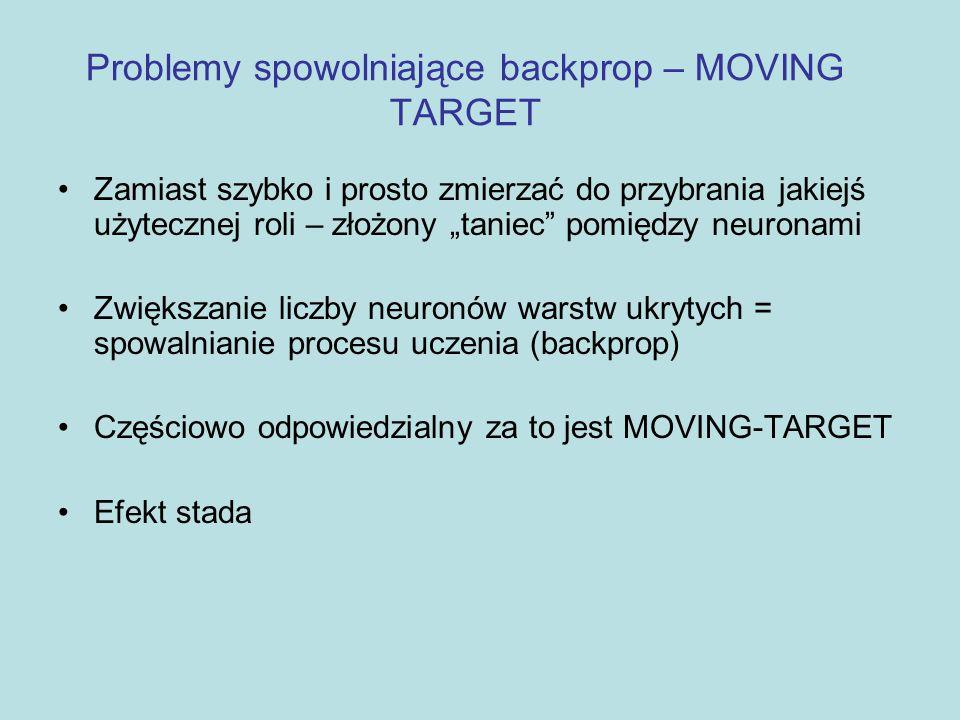 """Problemy spowolniające backprop – MOVING TARGET Zamiast szybko i prosto zmierzać do przybrania jakiejś użytecznej roli – złożony """"taniec"""" pomiędzy neu"""