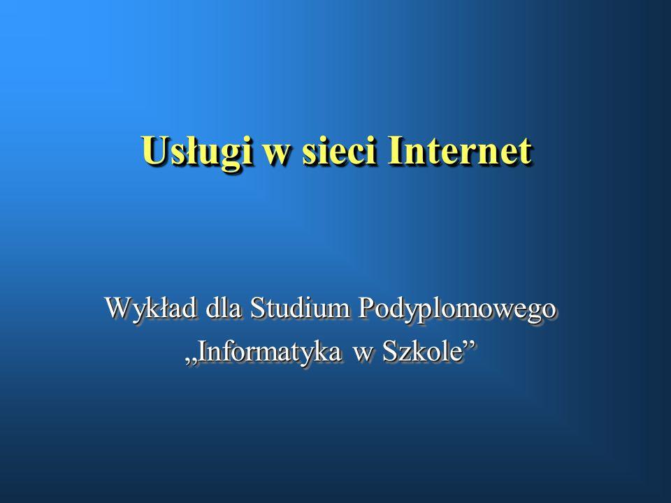 Systemy wyszukiwawcze u dynamiczny rozrost zasobów Internetu u systemy katalogowania strukturalnego witryn WWW u systemy automatycznego indeksowania stron WWW u system archiwizowania i przeszukiwania grup dyskusyjnych Usenet u metakatalogi u udostępnianie innych systemów wyszukiwania via WWW (np.