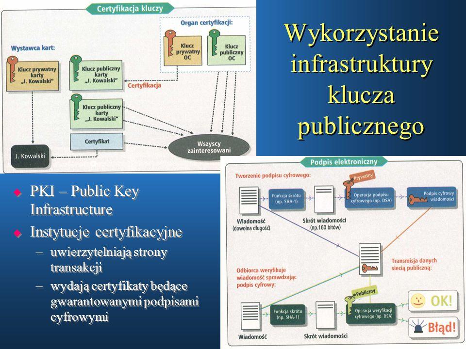 Wykorzystanie infrastruktury klucza publicznego  PKI – Public Key Infrastructure  Instytucje certyfikacyjne –uwierzytelniają strony transakcji –wyda