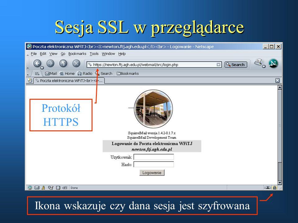 Sesja SSL w przeglądarce Ikona wskazuje czy dana sesja jest szyfrowana Protokół HTTPS