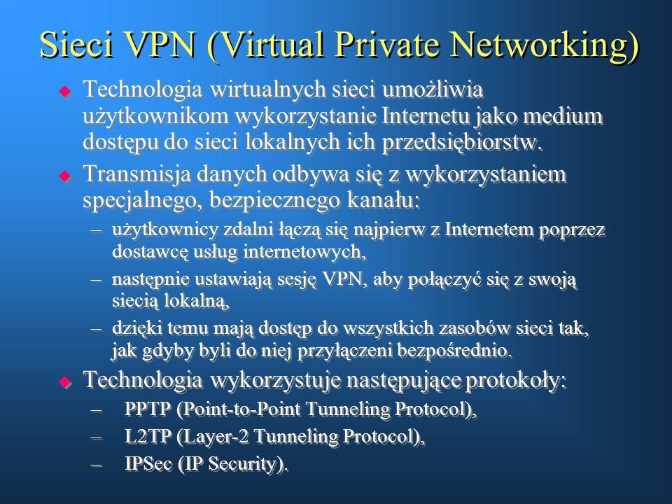 Sieci VPN (Virtual Private Networking)  Technologia wirtualnych sieci umożliwia użytkownikom wykorzystanie Internetu jako medium dostępu do sieci lok