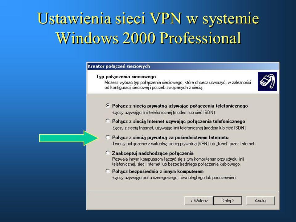 Ustawienia sieci VPN w systemie Windows 2000 Professional