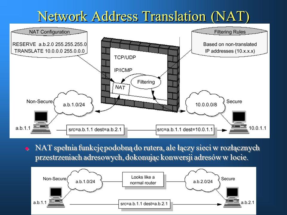 Network Address Translation (NAT)  NAT spełnia funkcję podobną do rutera, ale łączy sieci w rozłącznych przestrzeniach adresowych, dokonując konwersj