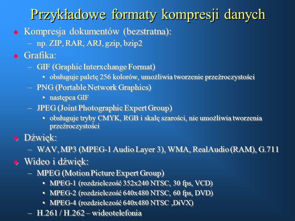 Przykładowe formaty kompresji danych  Kompresja dokumentów (bezstratna): –np. ZIP, RAR, ARJ, gzip, bzip2  Grafika: –GIF (Graphic Interxchange Format