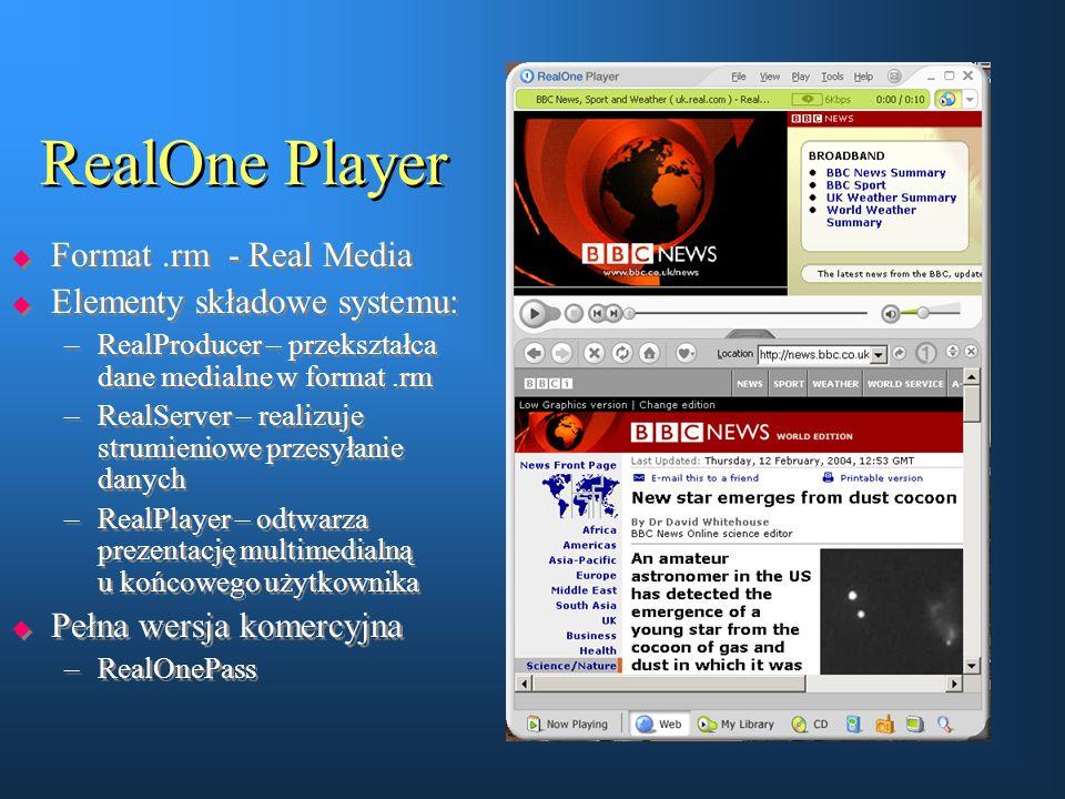 RealOne Player  Format.rm - Real Media  Elementy składowe systemu: –RealProducer – przekształca dane medialne w format.rm –RealServer – realizuje st
