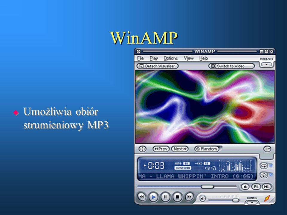 WinAMP  Umożliwia obiór strumieniowy MP3