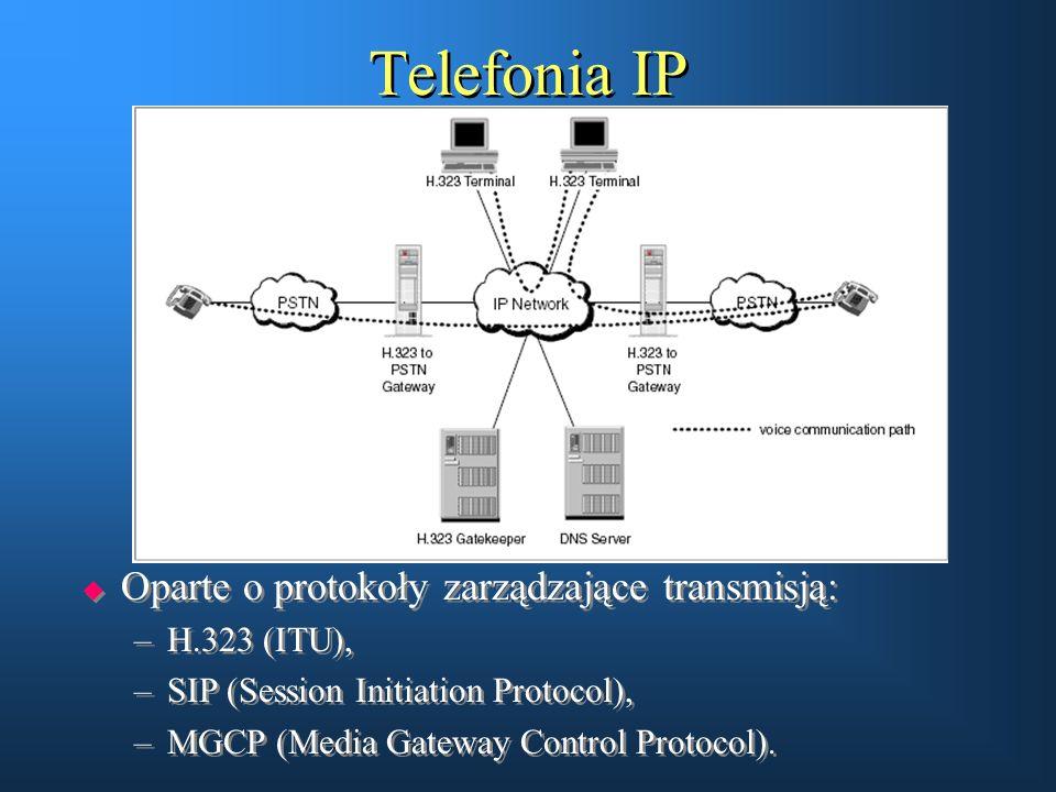Telefonia IP  Oparte o protokoły zarządzające transmisją: –H.323 (ITU), –SIP (Session Initiation Protocol), –MGCP (Media Gateway Control Protocol). 