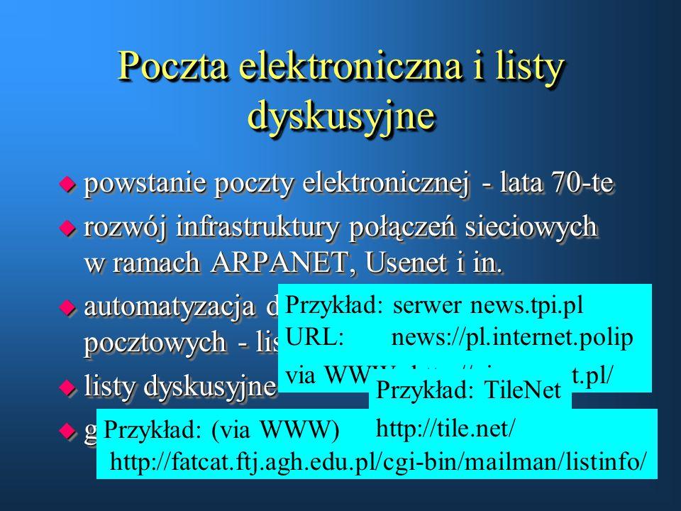 Poczta elektroniczna i listy dyskusyjne u powstanie poczty elektronicznej - lata 70-te u rozwój infrastruktury połączeń sieciowych w ramach ARPANET, U